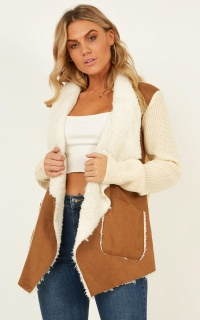 Under The Clouds Shearling Jacket In Tan