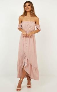 Underlying Message Maxi Dress In Blush Polka Dot