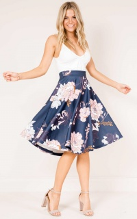 Whirlwind midi skirt in navy floral