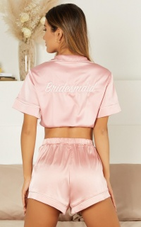 Above The Line Top In Blush Satin