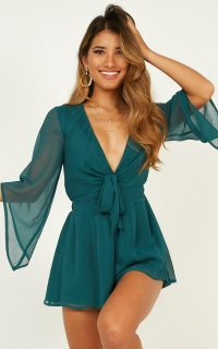 All Lit Up Playsuit In Emerald