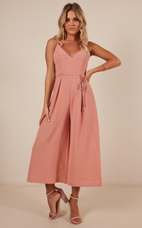 Between You And Me Jumpsuit In Peach