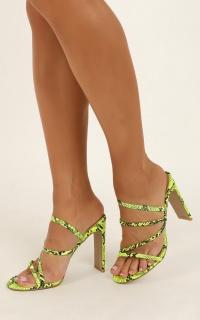 Billini - Devana Heels In Neon Yellow Snake