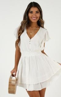 Burning Fire Dress In White