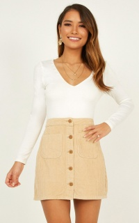Cant Help You Skirt in beige cord