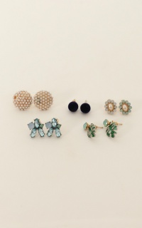Castaway Earrings 10pc Set In Gold And Teal