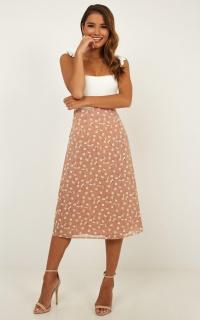 Felt Love Skirt In blush floral