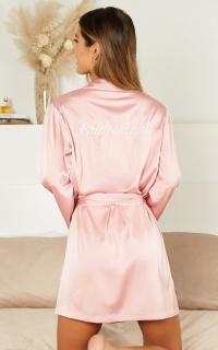 Ellena Bridesmaid Robe In Blush Satin