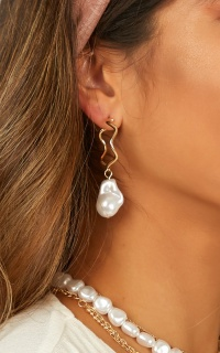 Hung Up On You Earrings In Gold And Pearl