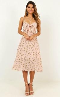Im Grateful Midi Dress In Blush Floral