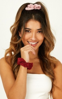Keep It Real Scrunchie 2 Pack In Blush And Wine Satin