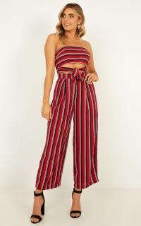 Keep On Flourishing Two Piece Set In Wine Stripe