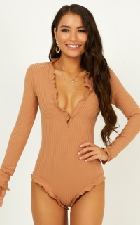 Keep Sake Bodysuit In Tan