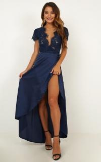 Kiss Of True Love Maxi Dress In Midnight Blue