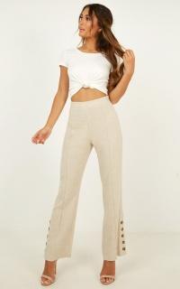 Know Me Best Pants In Beige Linen Look