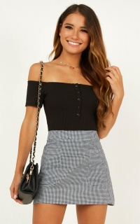 Lean On Me Skirt In Black Gingham
