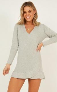Losing It Knit Dress In Grey