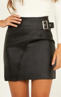 Mark Me Skirt In Black Leatherette