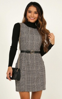 Mood Booster Dress In Grey Check