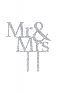 Mr & Mrs Wedding Cake Topper In Silver Glitter
