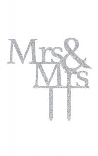 Mrs & Mrs Wedding Cake Topper In Silver Glitter