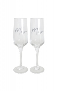 Mrs & Mrs Wedding Champagne Flute Set