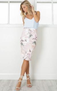Claim It Back skirt in mauve floral