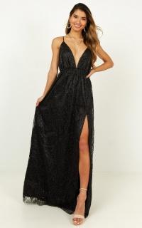 Pixi Love Maxi Dress In Black Glitter