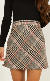 Put In Motion Skirt In Multi Check