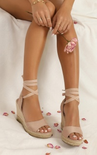Showpo X Billini - Tenerife Wedges In Blush Micro