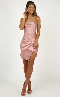 Sling Shot Dress In Blush Satin