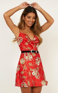 So Bling Dress In Red Chain Print