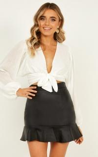 Soul Crusher Leatherette Skirt In Black Leatherette