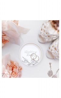 Wedding Rings Trinket Tray In White