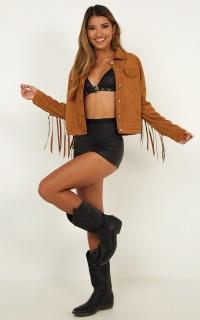 Western Girl Jacket In Tan Suedette