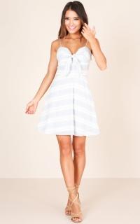 Tripping Through Love Dress In Blue Stripe