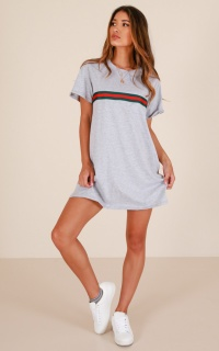 Stay Woke T-shirt dress in grey