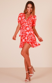 By The Book dress in red floral
