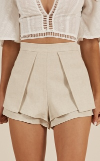 Always In Love Shorts In Beige Linen Look
