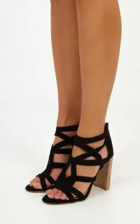 Verali - Glow Heels In Black Micro