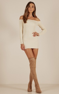 Walk Me Home Knit Dress In Cream