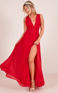 Wide Eyed Girl Maxi Dress in Red