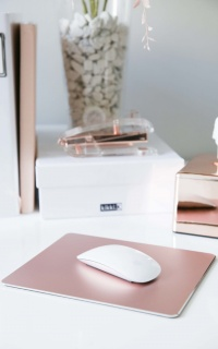 Work From Home mouse pad in rose gold