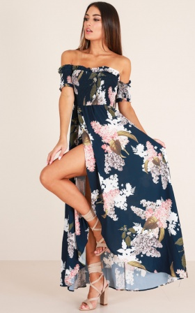 Hold On To Me maxi dress in navy floral