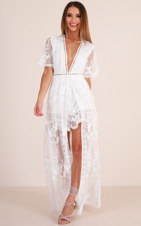 Lets Get Loud Maxi playsuit in white
