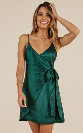 Someone New dress in forest green