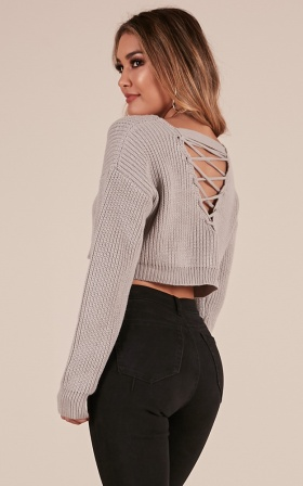 Shes A Riot Knit sweater in Grey