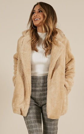 Simple Times Coat In Beige