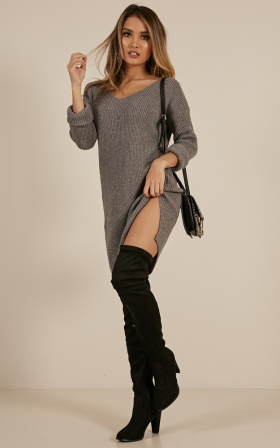 On The Floor Knit Dress In Charcoal