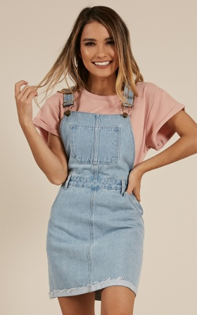 All My Friends Overall Dress In Blue Wash